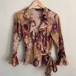 CHAPS  Floral Printed Cotton Wrap Blouse